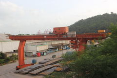 The travelling gantry crane In the yard in SHENZHEN Stock Photo