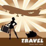 Travelling girl. Abstract colorful illustration with ship, plane shape and attractive young girl silhouette wearing a suitcase Stock Photography