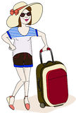 Travelling girl. A girl weared shorts, t-shirt and hat hold her luggage isolated on white. Vector illustration Stock Images