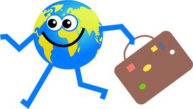 Travelling globe. Happy cartoon globe man going on a journey carrying his travel case Stock Photo