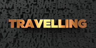 Travelling - Gold text on black background - 3D rendered royalty free stock picture Stock Images