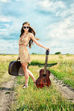 Travelling guitar Royalty Free Stock Image