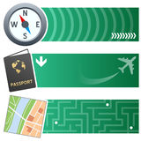 Travelling & Holiday Horizontal Banners. A collection of three vacation and travel horizontal banners with a compass, a passport and a generic city map icon on Stock Photos