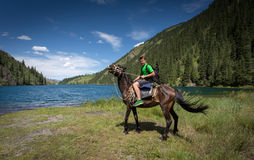 Travelling on horseback. On a mountain lake stock image