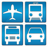 Travelling Icons Blue. Plane, Train, Bus, Car square icons in blue over white background Royalty Free Stock Photography