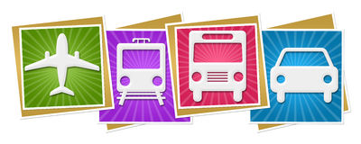 Travelling Icons Colorful Squares Burst Royalty Free Stock Photography
