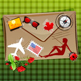 Travelling icons on envelope Royalty Free Stock Photos
