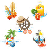 Travelling icons. 5 highly detailed travelling icons Royalty Free Stock Photos