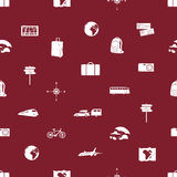 Travelling icons seamless pattern eps10. Red travelling icons seamless pattern eps10 Royalty Free Stock Photo