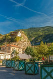 Travelling in Italian Alps - Little alpine town Susa Highly in mountains Royalty Free Stock Image