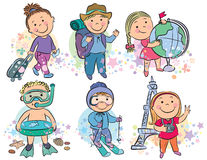 Travelling kids. Contains transparent objects. EPS10 Royalty Free Stock Photos