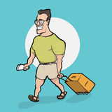 Travelling man goes with bag. Hand drawn illustration Stock Image