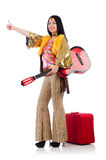 Travelling musician with suitcase Stock Photos