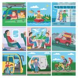Travelling people vector traveler or tourist character travellng by train or plane and couple with kids on car or. Seaboat trip vacation illustration set Stock Images