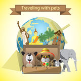 Travelling with pets. Travel pets. Vector illustration with pets,suitcase and world landmarks background Royalty Free Stock Image