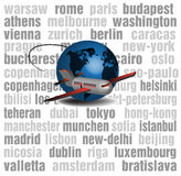 Travelling plane. Abstract colorful illustration with various large city names written in the background, blue globe and passenger plane. Travelling plane Royalty Free Stock Photos