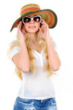 Travelling. Portrait of beautiful girl in hat with glasses Royalty Free Stock Photos