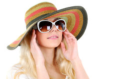 Travelling. Portrait of beautiful girl in hat with glasses Stock Photo