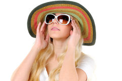 Travelling. Portrait of beautiful girl in hat with glasses Stock Images