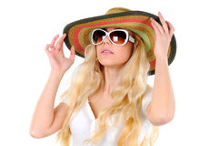 Travelling. Portrait of beautiful girl in hat with glasses Royalty Free Stock Image