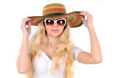 Travelling. Portrait of beautiful girl in hat with glasses Royalty Free Stock Photography