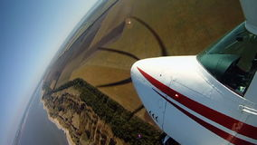 Travelling by private airplane. View from an aircraft wing. stock video footage