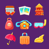 Travelling Related Objects Colorful Simplified Icons Royalty Free Stock Images