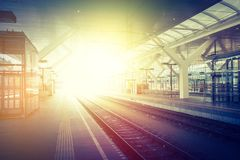 Travelling scene on a train station, public transport: rail platform or track. Travelling scene on train station, rail platform or track public transport journey stock image
