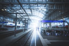 Travelling scene on a train station, public transport: rail platform or track. Travelling scene on train station, rail platform or track public transport journey stock images