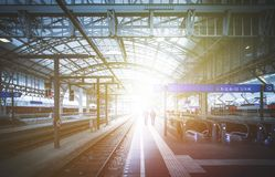 Travelling scene on a train station, public transport: rail platform or track. Travelling scene on train station, rail platform or track public transport journey royalty free stock photography