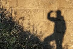 Travelling the shadow looking up, the diagonal of the grass and walls of large bricks. Russia Royalty Free Stock Photos
