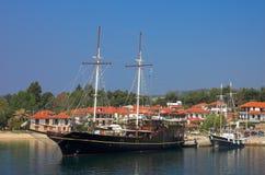 Travelling ship. Athos, Halkidiki, Greece Royalty Free Stock Photo