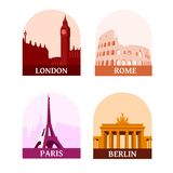 Travelling sights of the famous european cities: London, Paris, Berlin and Rome. Icons of big ben, coliseum, eiffel tower, brandenburg gate Royalty Free Stock Image