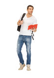 Travelling student. Bright picture of travelling student with backpack and book Stock Photo