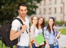 Travelling student with backpack Royalty Free Stock Image