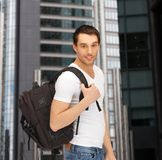 Travelling student with backpack outdoor Stock Photo