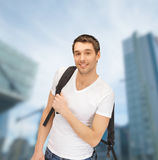 Travelling student with backpack outdoor Stock Image