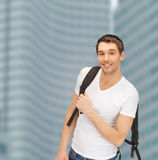 Travelling student with backpack outdoor Stock Photos