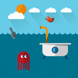 Travelling submarine bathtoob with octopus and bird. Underwater life and bizarre bath flat style Royalty Free Stock Photos