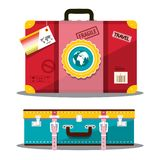 Travelling Suitcase. Vector Retro Travel Bag Side and Top View Isolated on White Background. Vintage Luggage Icons stock illustration