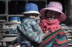 Travelling in Tibet:Mother and Baby stock images