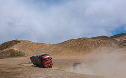 Travelling in Tibet:The car that anchored on the beach royalty free stock photos