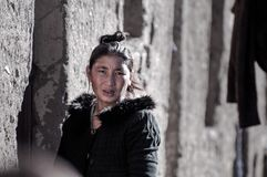 Travelling in Tibet:Anxious Woman Royalty Free Stock Photo