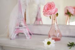 Travelling to France. Romance in pink. Miniature Eiffel tower. Symbol of love and confessions . In love Royalty Free Stock Images