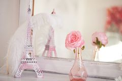 Travelling to France. Romance in pink. Miniature Eiffel tower. Symbol of love and confessions . In love Stock Image