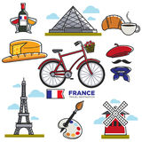Travelling to France, touristic map with traditional elements Stock Image