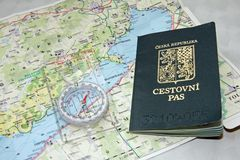 Travelling to Hungary. Czech passport on a map of Hungary Royalty Free Stock Image