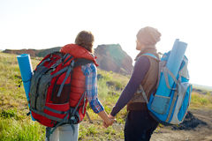 Travelling to Mountains Together Stock Image