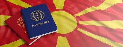 Travelling to North Macedonia. Two passports on North Macedonia flag background. 3d illustration stock photos
