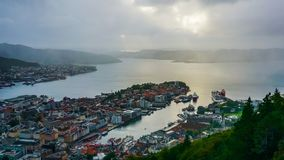 View of Bergen in the evening from Mount Flom, Norway stock photography